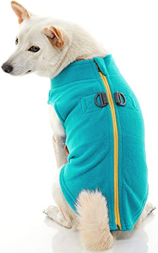 Gooby Zip Up Fleece Dog Vest - Turquoise, Medium - Step-in Dog Jacket with Zipper Closure and Leash Ring - Winter Small Dog Sweater - Warm Dog Clothes for Small Dogs for Indoor and Outdoor Use