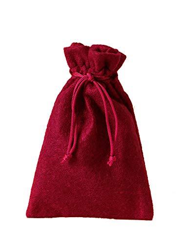 12 bolsitas de fieltro, bolsas de fieltro, tamaño 15x10 cm, para empacar regalos, calendario de Adviento, navidad, reyes, decoración de otoño (rojo)