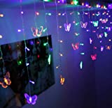 BJYHIYH Curtain Fairy Lights 4.9ft x 1.6ft 8 Modes LED Butterfly Twinkle Lights Curtain String Lights for Bedroom Weddings Christmas Tree Decoration(Colored)