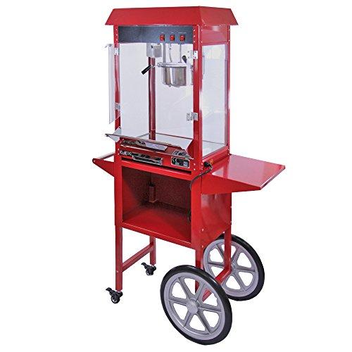 KuKoo Retro Party Popcornmaschine Popcorn Maker Popcornautomat mit Wagen dekorative Innenbeleuchtung