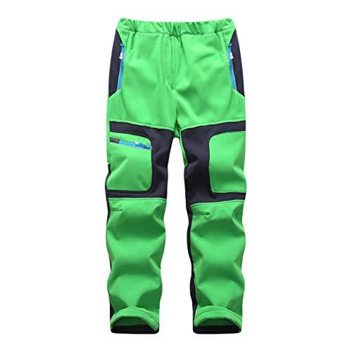 GELing Pantalones de Invierno para Niño Niña, Pantalon de Trekking Impermeables Forro Polar Pantalón Senderismo Pantalones de Montaña Pantalones de Esqui,Verde,120