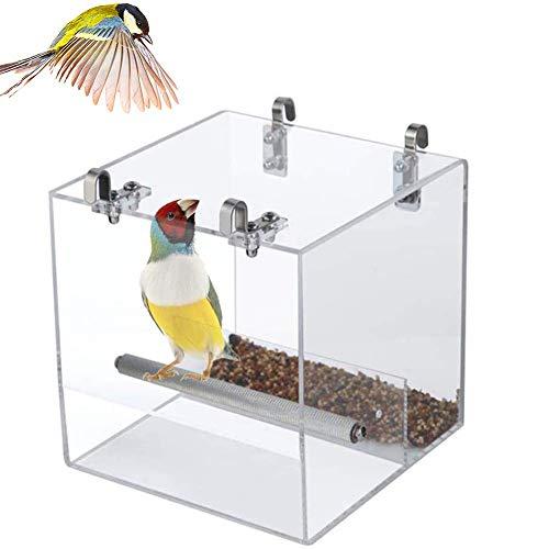 ZXL Vogelhuisje, hangende heldere acryl-automatische voering met haak en roestvrijstalen vijl-klauwstaander-hengel vogel-antistrooiel-voedsel-acrylbox