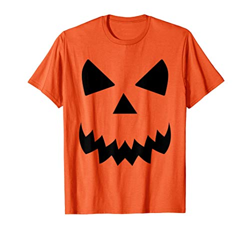 Cara De Calabaza Aterradora Disfraz De Halloween Naranja Camiseta