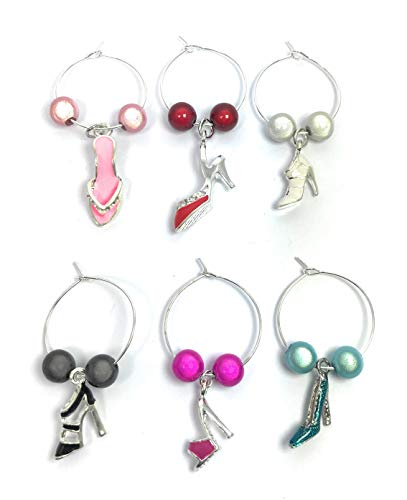 Shoe Lovers Wine Glass Charms with Organza Gift Bag