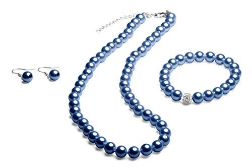 Perlenkette geknotet - Perlenarmband - Perlenohrringe - Set Blau
