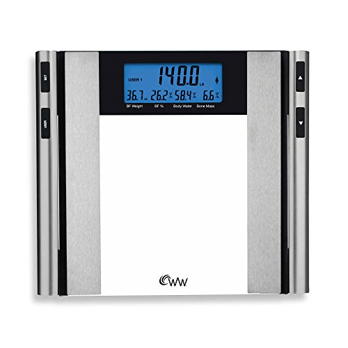 2 x 5 Two-Line Display Glass & Satin Nickel Body Analysis Comprehensive Bathroom Scale with BIA technology by Weight Watchers