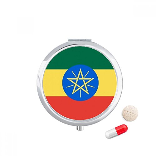 DIYthinker Ethiopië Nationale Vlag Afrika Land Reizen Pocket Pill case Medicine Drug Storage Box Dispenser Spiegel Gift