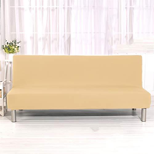 YXLJC Funda Sofa Cama, Universales Plegable Funda De Sofá Futón Couch Clic Clac Cubre Sofá Sin Brazos (Beige,Large)