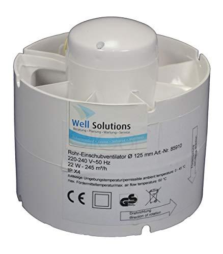 Well Solutions® Rohreinschubventilator Ø 125 mm | Lüftungsventilator für Sauna und Bio-Sauna |