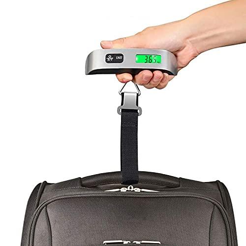 JYKCBP Básculas De Mano Digitales para Colgar Equipaje, Báscula Colgante De 110 Libras con Sensor De Temperatura, Carro De Maleta De Orientación para Viajes, Exteriores Y Hogar