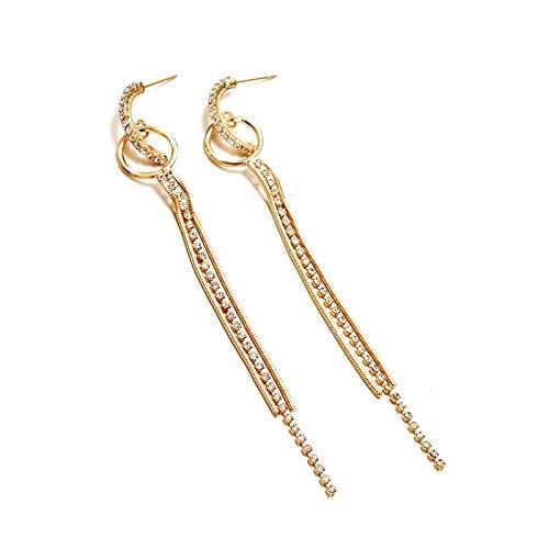 Burenqi Oorbel Sliver gouden kleur ketting kwast lange oor Clip Punk stijl verklaring oorbel sieraden