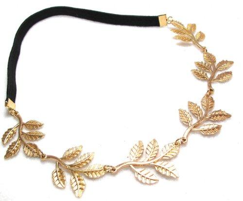 Métallique Sweet Lady Golden Leaf élastique de fleur de cheveux de bandeau