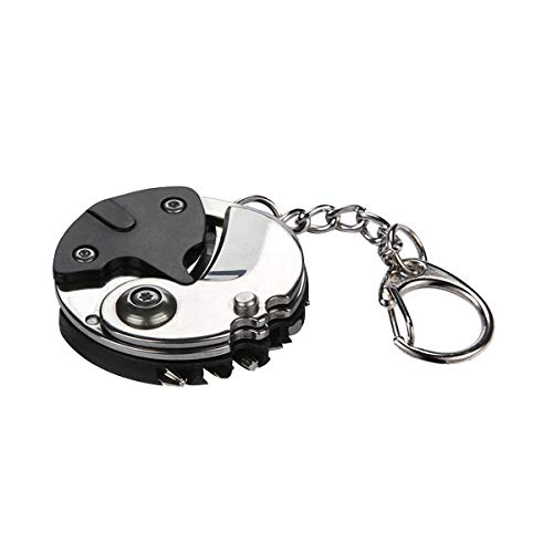 Tournevis Pliable Portable Multifonctionnel, Porte-clés en Forme de pièce de Monnaie, Mini Porte-clés de Poche Pliant EDC avec chaîne Suspendue pour Les urgences de Survie en Camping à l'extérieur