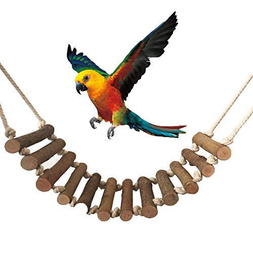 inherited Ave Escalera Columpio, Juguete de Pajaros de Pájaros Madera Natural de Juguete para periquitos, Loros(55 * 10cm) Que cuelga la Perca Juguete para pequeños y medianos Loros de Aves