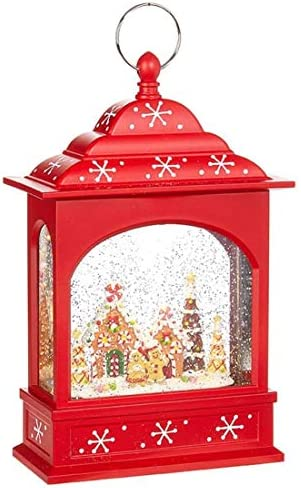 RAZ Imports Gingerbread Lighted Water Lantern 11 Lighted Christmas Snow Globe with Swirling product image