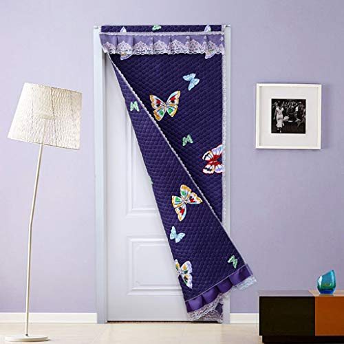 CUIS- Lace Winter-Cotton-Tür-Vorhang, Eindickung Haus Schlafzimmer Wohnzimmer Warme Windschutzscheibe Klimaanlage Kälteschutz Schallschutz Partition Vorhang, sendet Einbau Teleskopstange