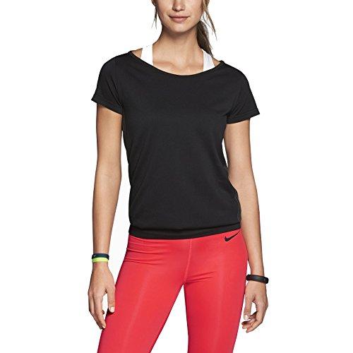 Nike Dri-FIT Knit Short-Sleeve Epic Crew Women's Training Shirt, Black, Medium