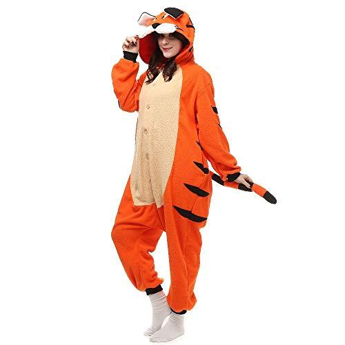 AYJMA Pijamas de Mono de Tigre de Bengala para Adultos, Disfraces con Patas de Dibujos Animados, Ropa de Dormir Unisex, Navidad Kigurumi XL