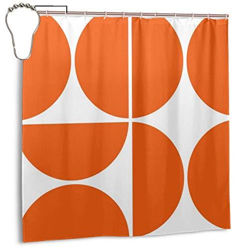 Yuanmeiju Mid Century Modern Orange Square Cortina de la Ducha Waterproof Polyester Cortina de la duchaResistant Anti Mould Bathroom Cortina de la Ducha Hooks with 12pcs 180x180cm