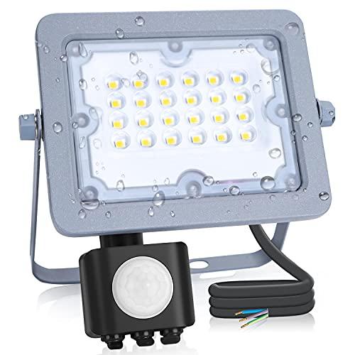 Aigostar - Foco LED ultrafino con sensor de movimiento,20W,luz Blanco Frío 6500K,impermeable IP65.Luz para exterior de gran luminosidad 1800lm para jardines, patios, garajes o caminos de acceso