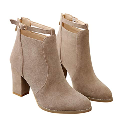 Holibanna Ankle Boots Autumn Winter Women Booties Elegant Chunky Heels Shoes for Female Ladies 1 Pair
