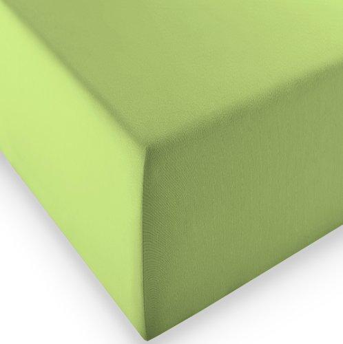 sleepling Komfort Jersey-Elastic Stretch Spannbettuch Spannbettlaken für Matratzen bis 30 cm Höhe (215 gr. / m²) mit 3% Elastan 180 x 200-200 x 220 cm, grün