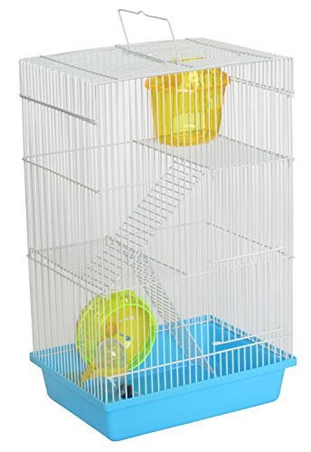 """YML Triple Stories Dwarf Hamster Cage with Small Wheel/Dish and Water Bottle/Plastic Base, Blue, 10.5"""" x 8"""" x 18"""""""