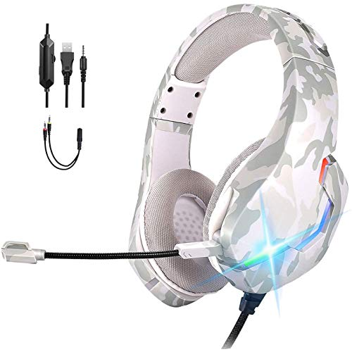 ONIKUMA Auriculares Gaming PS4 con Micrófono,Cascos Gaming PS5 con Sonido Envolvente 7.1,Cancelación Ruido,3.5mm y RGB LED,Auriculares para Juegos para Xbox One/Nintendo Switch/PC/Tablet(Blanco)