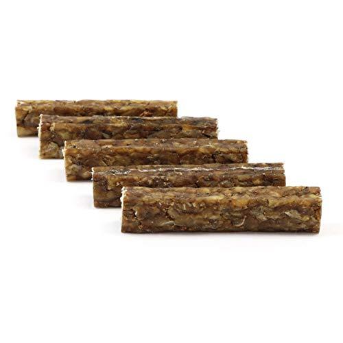 DOGBOSS 100% Natur Kauriegel, Hundeleckerli, gesunder Hundesnack, Rinderhaut mit Ente & Apfel, 5 Stück 12 cm