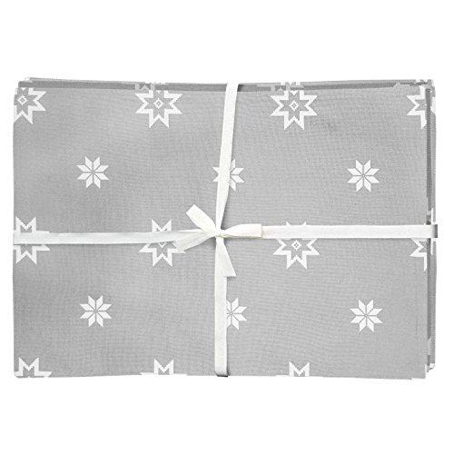 Ragged Rose – Mattie – Mantel Individual de Algodón de Navidad (Pack de 4), Color Gris