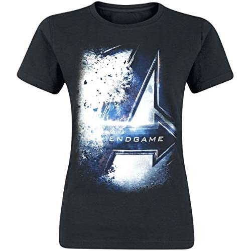 T-Shirt Donna Avengers Endgame Bursted Logo Marvel Cotton Black - L
