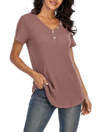 CAMLAKEE Maglietta Donna T-Shirt Scollo a V Camicette a Maniche Corte Allentato Traspirante Estate Tee con Abbottonatura Rosa Scuro XL