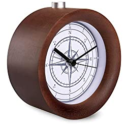 Navaris Wood Analog Alarm Clock - Round Battery-Operated Non-Ticking Clock with Snooze Button and Light - Dark Brown, Vintage Compass