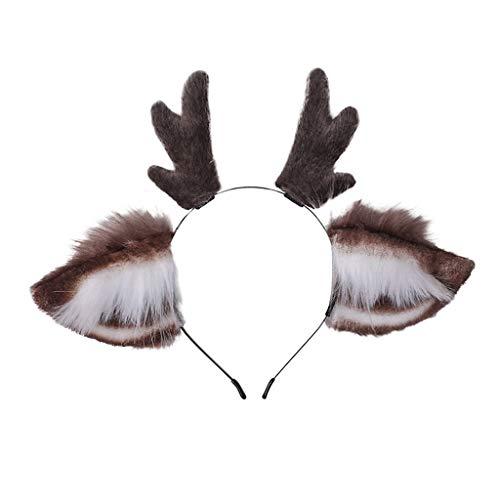 N\A Xiuinserty - Diadema de cornamenta de piel sintética con orejas de cornamenta de reno para el pelo