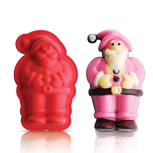"""INNOKA Silicone Santa Claus Cake Mold [5.1"""" x 3.3""""] Non-Stick Chocolate Food Grade Moulds Tray Cookie Cake Topper Jelly Baking - Great For Christmas, Parties, Holidays"""