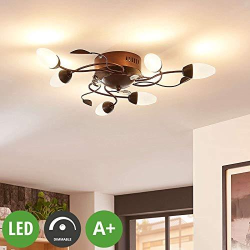 Lampenwelt LED Deckenleuchte 'Renato' dimmbar (Landhaus, Vintage, Rustikal) in Braun aus Metall u.a. für Wohnzimmer & Esszimmer (6 flammig, A+, inkl. Leuchtmittel) - Lampe, LED-Deckenlampe