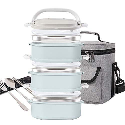 Lunch Box Stainless Steel Food Containers 3 Stackable Square Bento Box with Insulated Lunch Bag Spoon and Fork Set for School Office Or Picnic Nordic Blue