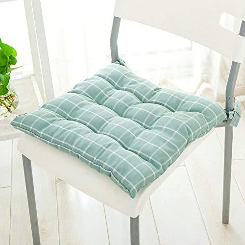 HYDD Green Square Stuhlkissen,weiche Sitzpolster mit Krawatten Waschbare Bürostuhlkissen Atmungsaktives Gartenhaus Autogrün 45x45cm