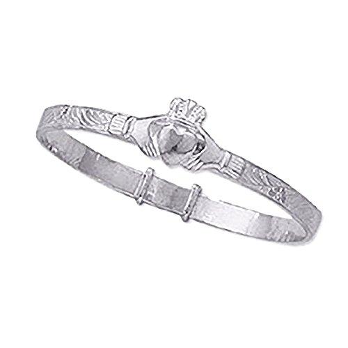 Irish Celtic Claddagh Expanding/Expandable BABY BANGLE Sterling Silver Bracelet for Boys/Girls/Child/Children/Kids - 925 Sterling Silver - Engravable & Adjustable