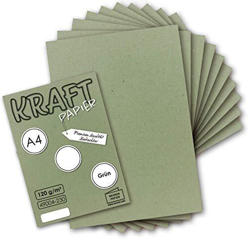 50 Blatt I Vintage Kraftpapier in Grün DIN A4 120 g/m² grünes Recycling-Papier, 100% ökologisch Brief-Bogen - Briefpapier I UmWelt by GUSTAV NEUSER®