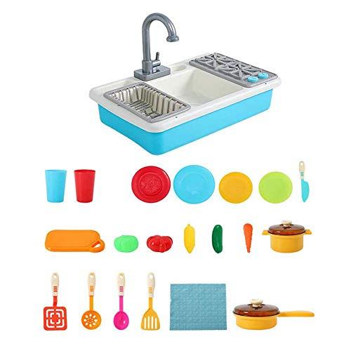 ZDSKSH Juguetes de Fregadero de Cocina para niños, Juguetes de Cocina para Lavar Juegos de simulación, Juguetes para Cortar lavavajillas, Utensilios de Cocina, Grifo y desagüe de Agua a presió