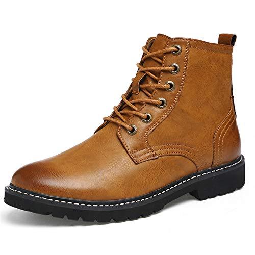 Zapatos Hombre Invierno Botas De Chelsea for Los Zapatos De Tobillo De Los Hombres Tirar De La PU Cuero Anti Resbalón Con Punta Redonda Con Cordones De Caucho Sole Fácil Cuidado Botas Hombre Impermeab