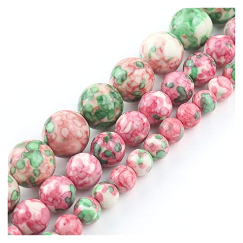 NWXZU Natural Stone Red Green Spotted Rain Flower Stone Jasper Round Beads For Jewelry Making DIY Necklace Bracelet 4mm-12mm 15 Inch (Size : 8mm)