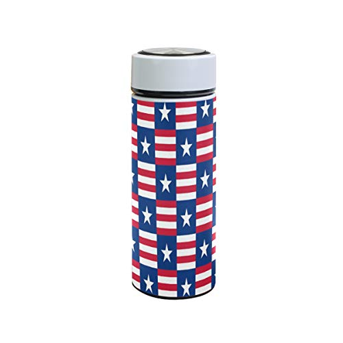 XiangHeFu waterfles 12oz Usa Star wit blauwe vlag rode strepen patriotische reisbeker drankje sportlekveilig houden koude of warme thermoskan