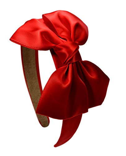 Girls Satin BOW Arch Headband By Funny Girl Designs (RED)