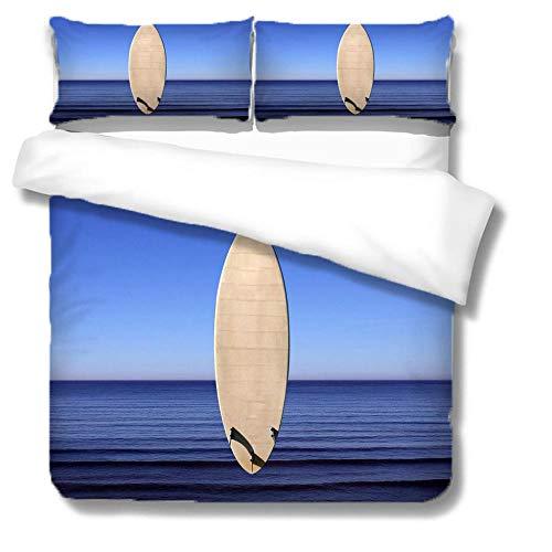 SFFLILY Juego De Funda De Edredón Tabla De Surf Oceánica 3 Piezas Funda Nórdica Microfibra Juego De Cama Cremallera Funda De Almohada,180X220Cm/Cama 105