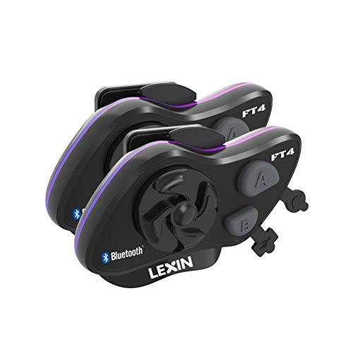 LEXIN FT4 Helm Intercom, Motorrad Headset Bluetooth Helm Gegensprechanlage bis zu 4 Fahrer Kommunikation Geräuschunterdrückung Reichweite von 2000 Metern mit FM, Siri, S-Voice für Fahrrad, Skifahren