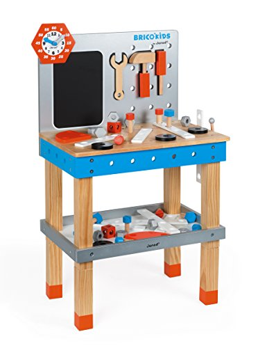 Janod Brico Kids DIY Giant Magnetic Workbench Game – Realistic Deluxe Construction Set – Creative, Imaginative, and Developmental Play – Fully Equipped Educational Building Tools – Ages 3+ Years