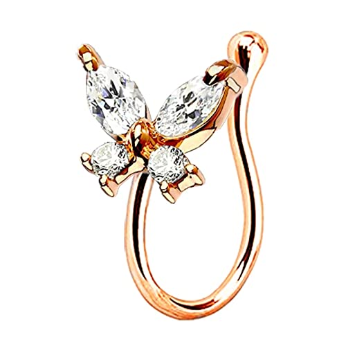 fafafa Anillo de nariz 1 pieza de cristal mariposa falsa anillo de nariz no piercing clip en la nariz, anillo de nariz estilo indio piercing falso (color de metal: BF RG)