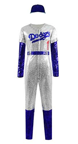 Skycos Elton John Halloween Cosplay Costume Baseball Uniform Full Set US Size (Large, Female)